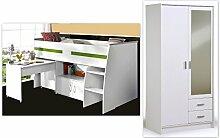 Kinderzimmer Rean 2 weiß 2-teilig Hochbett Kleiderschrank Spiegelschrank Bett Schreibtisch Kommode