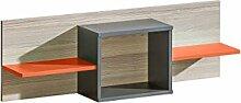 Kinderzimmer-Regal 110 cm breit, Farbe: Orange / Grau / Braun