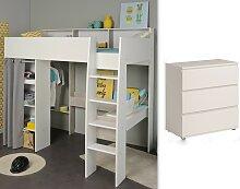 Kinderzimmer-Set 2-tlg inkl 90x200 Hochbett u Kommode 3 Schubkästen Taylor 12 von Parisot Weiss / Grey Loft