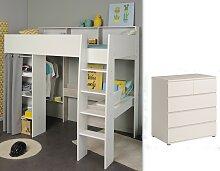 Kinderzimmer-Set 2-tlg inkl 90x200 Hochbett u Kommode 5 Schubkästen Taylor 13 von Parisot Weiss / Grey Loft