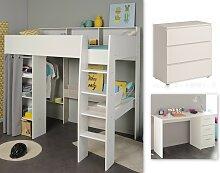 Kinderzimmer-Set 3-tlg inkl 90x200 Hochbett, Kommode u Schreibtisch Taylor 15 von Parisot Weiss / Grey Loft