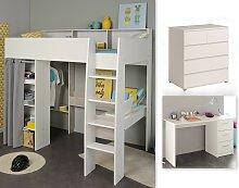 Kinderzimmer-Set 3-tlg inkl 90x200 Hochbett, Schubkastenkommode u Schreibtisch Taylor 16 von Parisot Weiss / Grey Loft