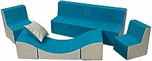 Kinderzimmer-Set m. Stickerei:2xKinderstuhl+Sofa+Relaxliege Kindermöbel Spielset (Farbe: blau-beige)