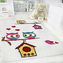 Kinderzimmer Shaggy Eulen Kinder Teppich Hochflor, mehrfarbig