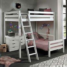 Kinderzimmer Stockbett aus Kiefer Massivholz Weiß