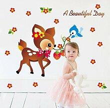 Kinderzimmer Tapete Aufkleber kindergarten Rehe Wandaufkleber Schlafzimmer Wall Sticker entfernen können Wall Sticker