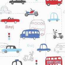Kinderzimmer Tapete Autos Bus Motorrad Transportmittel 10 Meter