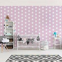 Kinderzimmer Tapeten - Vliestapeten Premium - No.YK50 Sterne Rosa - Fototapete Breit Vlies Tapete Wandtapete Wandbild Foto 3D Fototapete, Größe HxB: 320cm x 480cm