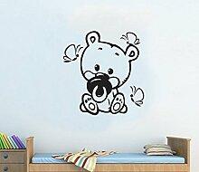 Kinderzimmer Teddy Bear Art Wand Kinder Junge Mädchen Schlafzimmer gratis Rakel. Aufkleber Aufkleber, Silber, Large - 59cm W x 61cm H
