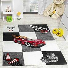 Kinderzimmer Teppich Auto Design Konturenschnitt Grau Creme Schwarz, Grösse:120x170 cm