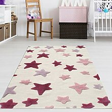 Kinderzimmer Teppich Mädchen Rosa Sterne Größe