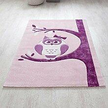 Kinderzimmer Teppich mit Eule Motiv Rosa Lila Pharao24