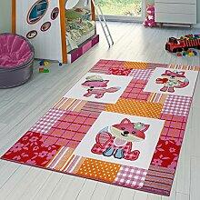 Kinderzimmer Teppich Süße Füchse Kurzflor Teppich In Karo In Pink Creme Orange , Größe:120x170 cm