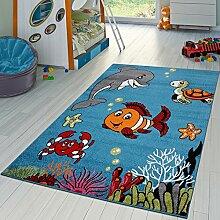 Kinderzimmer Teppich Unterwasserwelt Kurzflor in Türkis Grau Grün Pink Blau , Größe:120x170 cm