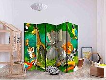 Kinderzimmer Trennwand mit Zootier Motiven 225 cm