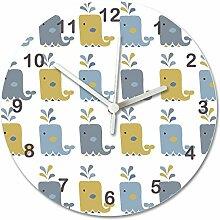Kinderzimmer Uhr, Baby Wanduhr für Jungen, Raum Wanduhr, geräuschlos Uhren, Wanduhr, Kinder Uhren, Wal Print Uhr