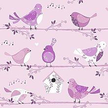 Kinderzimmer Vlies Tapete Essener Just 4 Kids G56005 Vögel rosa lila weiß