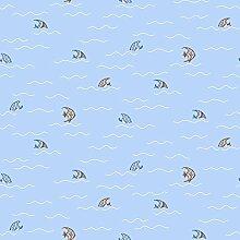 Kinderzimmer Vlies Tapete Essener Just 4 Kids G56016 Fisch Fische im Wasser blau weiß braun