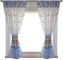 Kinderzimmer Vorhänge Gardinen 2er SET 155 x 155 cm Dekoschal mit Zierband und Stern, Farbe: Eulen Blau, Größe: ca. 155x155 cm