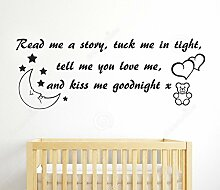 Kinderzimmer Wandtattoo Read Me A Story Mädchen Jungen Baby Art Schlafzimmer gratis Rakel, dunkelblau, Large - 155cm W x 58cm H