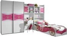 Kinderzimmer Zoe 4-teilig Weiß - Pink