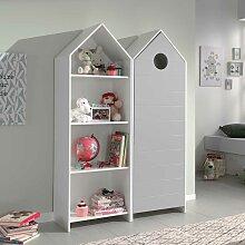 Kinderzimmerschrank mit Regal Weiß und Grau