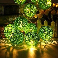 KING DO WAY 10er Lichterkette LED Mini Schoene Rattan Ball Form 1.8 M String Licht aussen innen Batteriebetriebene Hochzeits Garten Weihnachtsdekor LED beleuchtung Lichter Gruen
