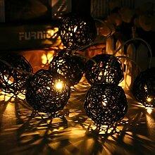 KING DO WAY 20er Lichterkette LED Mini Schoene Rattan Ball Form 3.2 M String Licht aussen innen Batteriebetriebene Hochzeits Garten Weihnachtsdekor LED beleuchtung Lichter Schwarz