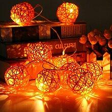 KING DO WAY 20er Lichterkette LED Mini Schoene Rattan Ball Form 3.2 M String Licht aussen innen Batteriebetriebene Hochzeits Garten Weihnachtsdekor LED beleuchtung Lichter Orange