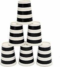 KING DO WAY 50 Stueck Pappbecher Einwegbecher Streifen Muster heissen kalten Kaffee papier coffee becher tasse Party Hochzeit 250ML Schwarz