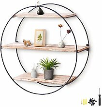 KING DO WAY Design Wandregal 50cm - 3 Holz Ablagen