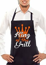 KING OF THE GRILL CROWN - Zweifarbig - Grillschürze Schwarz / Orange-Weiss