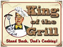 King of the Grill - Dad's Cooking Blechschilder Nostalgie - Grösse 20x15 cm