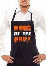 KING OF THE GRILL - Zweifarbig - Grillschürze Schwarz / Orange-Weiss