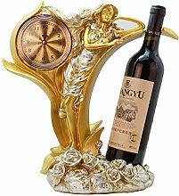 KINGEE Weinflaschenhalter Mit Uhr, Weinregal Aus