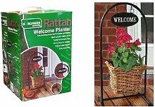Kingfisher Freistehend Rattan-willkommen-pflanzer Ideal Für Terrassen-belag H 60cm
