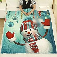 KINGKO 130X150CM Weihnachtsdeppich Flanell Stoff Sofa Bettdecke (A)