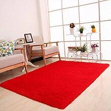 Kingko® 80 x 120cm Einteilige reine Farbe Flaumige Wolldecken Anti-Gleiten Sie Shaggy Bereichs-Wolldecke-Esszimmer-Hauptschlafzimmer-Teppich-Fußboden-Matte (Hot Pink)