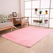 Kingko® 80 x 50cm Einteilige reine Farbe Flaumige Wolldecken Anti-Gleiten Sie Shaggy Bereichs-Wolldecke-Esszimmer-Hauptschlafzimmer-Teppich-Fußboden-Matte (Rosa)