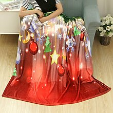kingko Christmas Blanket Flanell Stoff Sofa Bettdecke 80X150CM (F)