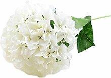 Kingko® Künstliche Hydrangea Blumen Bouquet Reale Touch Silk Hochzeit Braut Zubehör Home Party Dekor (Weiß)