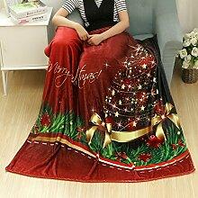 kingko Weihnachten Decke Flanell Stoff Sofa Bettdecke 80X150CM (C)