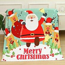 kingko Weihnachten Decke Flanell Stoff Sofa Bettdecke 80X150CM (B)