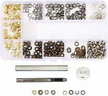 KINGSO 200 pcs Grommet Kit Tülle Werkzeuge Ösen Scheiben für Segeltuch Kleidung Leder, 1 / 4 zoll 4mm