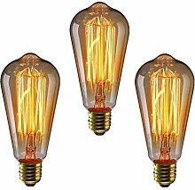 KINGSO 3 Pack E27 60W Edison Vintage Glühbirne