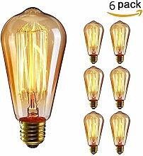 KINGSO 6x E27 40W Edison Lampe Vintage Stil
