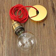 KINGSO Edison Lampenfassung E27 Metall Fassung Vintage Stil Pendelleuchte Hängelampe DIY Lampe Zubehör mit 2M Textilkabel & Baldachin Antike Gold glänzend