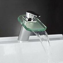 Kingzer RGB LED-Temperatur-Armatur Wasserfall Centerset Waschbecken Wasserhahn