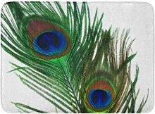 Kinhevao Badematte grüne Feder schöne weiße