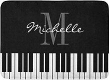 Kinhevao Badematte Musik schwarz weiß